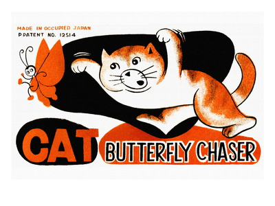 Cat Butterfly Chaser Wall Decal