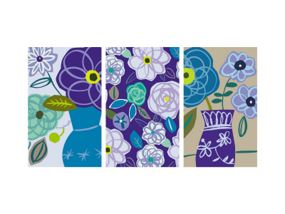 Blue Flower Swirls Triptych Autocollant mural