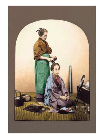 Woman Having Her Hair Done Wandtattoo von Baron Von Raimund Stillfried