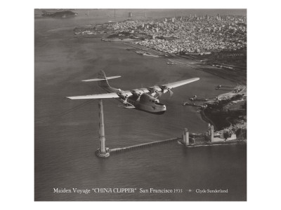 Maiden Voyage, China Clipper, San Francisco, California 1935 Wall Decal by Clyde Sunderland