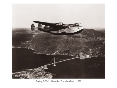 Boeing B-314 over San Francisco Bay, California 1939 Wall Decal by Clyde Sunderland