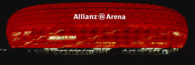 Soccer Stadium Lit Up at Night, Allianz Arena, Munich, Germany Wall Decal by  Panoramic Images