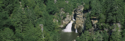 Waterfall in a Forest, Linville Falls, Linville Gorge Wilderness, North Carolina, USA Wall Decal by  Panoramic Images