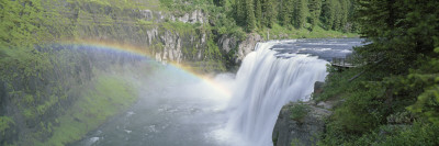 Rainbow over a Waterfall, Upper Mesa Falls, Targhee National Forest, Idaho, USA Wall Decal by  Panoramic Images