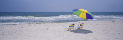Chairs on the Beach, Gulf of Mexico, Alabama, USA Wandtattoo von  Panoramic Images