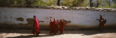 Monks Behind a Wall, Paro, Bhutan Wall Decal by  Panoramic Images