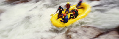 Four People Rafting in a River, Salmon River, Orleans, California, USA Wall Decal by  Panoramic Images