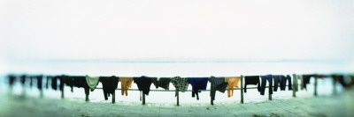 Clothes Drying at the Riverbank, Ganges River, Varanasi, Uttar Pradesh, India Wall Decal by  Panoramic Images