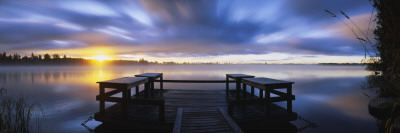 Pier at Dusk, Vuoksi River, Imatra, Finland Wall Decal by  Panoramic Images