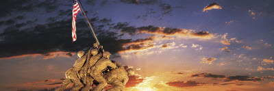 War Memorial at Sunrise, Iwo Jima Memorial, Rosslyn, Arlington, Arlington County, Virginia, USA Wall Decal by  Panoramic Images