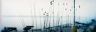 Flags on the Ghat, Ganges River, Varanasi, Uttar Pradesh, India Wall Decal by  Panoramic Images