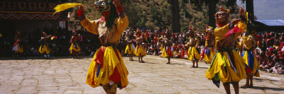 Dancers Performing in a Traditional Paro Tsechu Festival, Paro, Bhutan Wall Decal by  Panoramic Images