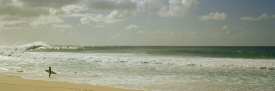 Surfer Standing on the Beach, North Shore, Oahu, Hawaii, USA Wall Decal by  Panoramic Images