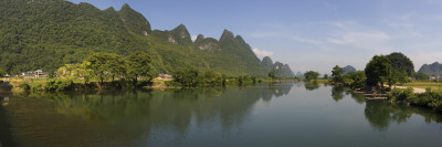 Reflection of Mountains in a River, Yulong River, Guangxi Zhuangzu, China Wall Decal by  Panoramic Images