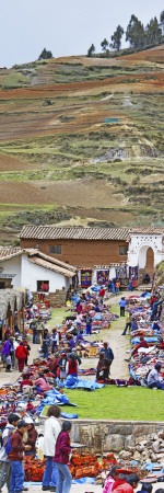 Group of People in a Market, Chinchero Market, Andes Mountains, Urubamba Valley, Cuzco, Peru Wall Decal