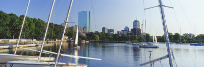 Sailboats in a River with City in the Background, Charles River, Back Bay, Boston, Suffolk County,  Wall Decal by  Panoramic Images