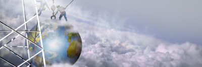Construction Workers Attaching a Crane to Earth with Clouds Wall Decal by  Panoramic Images