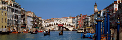 Bridge across a Canal, Rialto Bridge, Grand Canal, Venice, Veneto, Italy Wallstickers