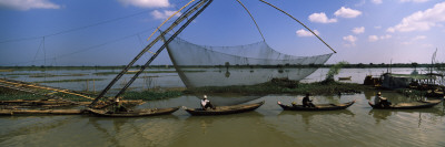 Fishing Boats in a River, Sangker River, Battambang Province, Cambodia Wall Decal by  Panoramic Images