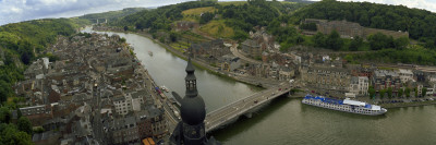 City and a Bridge across the River Viewed from the Dinant Citadel, Meuse River, Dinant, Belgium Wall Decal by  Panoramic Images