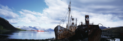 Ruins of Grytviken Whaling Station, Fisheries Patrol in Back, Cumberland Bay, South Georgia Island Wall Decal by  Panoramic Images