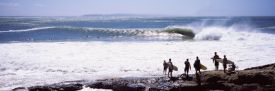 Silhouette of Surfers Standing on the Beach, Australia Wall Decal by  Panoramic Images