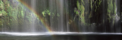 Rainbow Formed in Front of Waterfall in a Forest, Near Dunsmuir, California, USA Wall Decal by  Panoramic Images