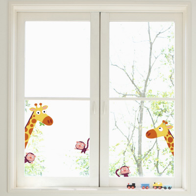 Giraffes and monkeys  (Window Decal) wandtattoos