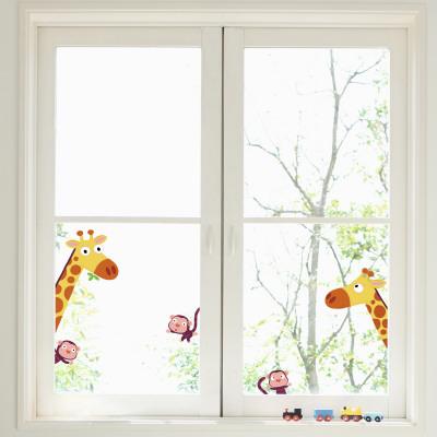 Giraffes and Monkeys Window Decal Sticker Pencere Çıkartmaları