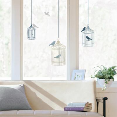 鳥かごウィンドウステッカー・窓用シール ウィンドウステッカー