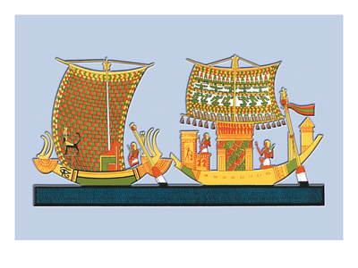 Boats from the Tomb of Ramses III at Thebes Wall Decal by J. Gardner Wilkinson