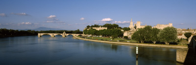 Palace at Waterfront, Palais Des Papes, Rhone River, Vaucluse, Provence-Alpes-Cote D'Azur, France Wall Decal by  Panoramic Images