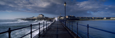 Waves Crashing Against a Jetty, Amble, Northumberland, England Wall Decal by  Panoramic Images