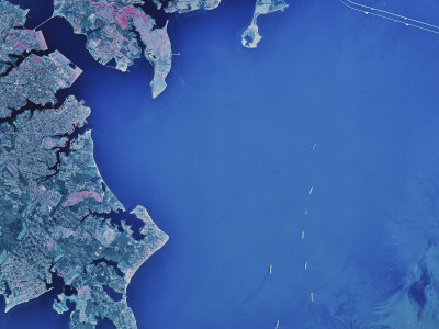 Satellite Image of Chesapeake Bay and Annapolis, Maryland Photographic Print by  Stocktrek Images