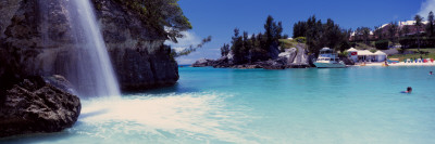 Waterfall with Tourist Resorts in the Background, Bermuda Wall Decal by  Panoramic Images