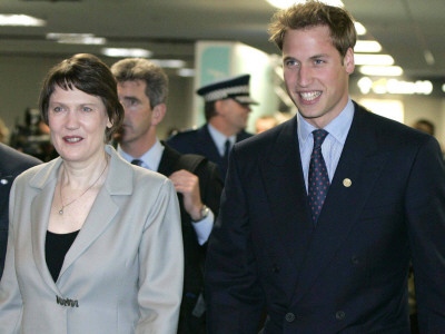 Prince William arrives at Wellington airport with Prime Minister Helen Clark at the start of his el Photographic Print