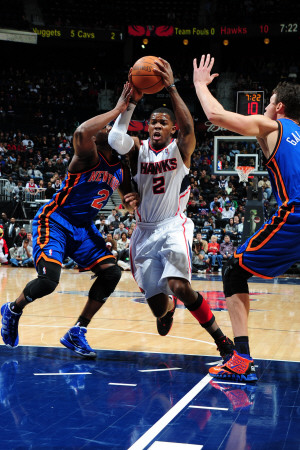 New York Knicks v Atlanta Hawks, Atlanta, GA - January 28: Joe Johnson and Raymond Felton Photographic Print