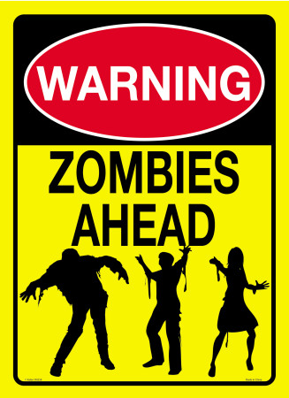 Warning Zombies Ahead Cartel de chapa