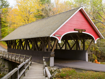Covered Bridge over Pemigewasset River, White Mountains Photographic Print by Gareth McCormack