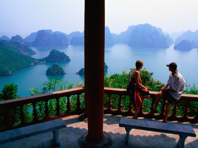 Balcony on Summit of Titop Island, Overlooking Limestone Islands Photographic Print