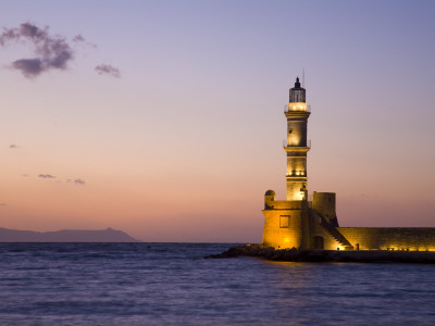 Venetian Lighthouse at Entrance to Hania Harbour Photographic Print by Gareth McCormack