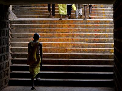 Pilgrim Walking the Stairs from Tirupathi to Tirumala Photographic Print by Johnny Haglund