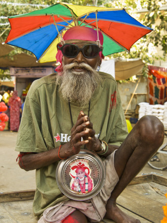 Portrait of Sadhu Wannabe, One of Many Fake Holy Men Looking for Donations During Pushkar Mela. Photographic Print by Dan Gair