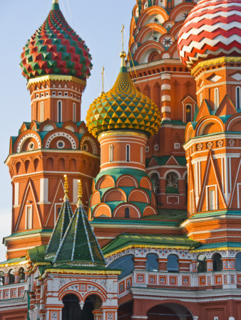 Walls and Domes of St Basils Cathedral (Pokrovsky Cathedral) in Red Square Photographic Print by Tim Makins