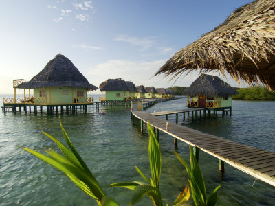 Wooden Walkways Leading Out to Cabins at Punta Caracol Hotel Photographic Print by Alfredo Maiquez