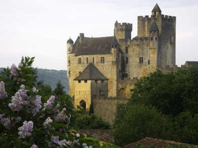 Chateau of Beynac with Lilac Bush in Foreground Photographie