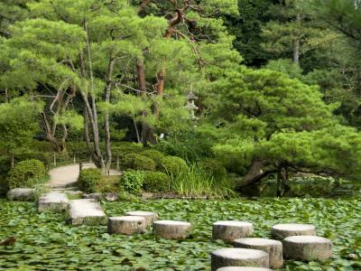 Stepping Stones across Soryu-Ike Pond in Naka Shin'En Garden, Within Heian-Jingu Shrine Complex Photographic Print by Rachel Lewis