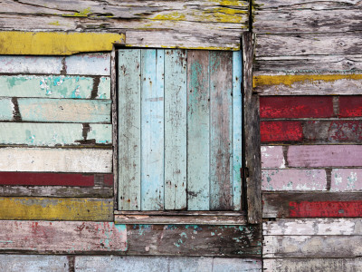 Wall and Window Detail of Rustic Wooden House Fotografisk tryk af Paul Kennedy