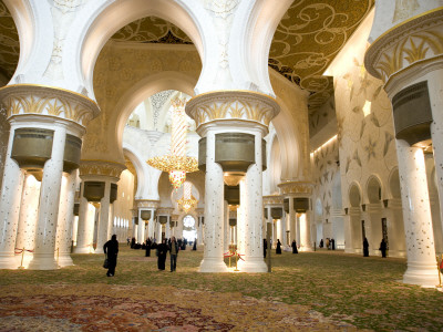 Interior of Sheikh Zayed Bin Sultan Al Nahyan Mosque (Also known as Sheikh Zayed Grand Mosque) Fotografisk tryk