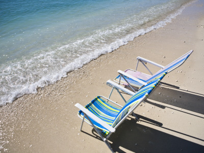 Beach Chairs on Shore Photographic Print by Micah Wright